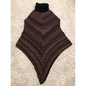 Wool Knit Turtleneck Poncho